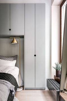Step Inside a Stylish Urban Apartment by Note Design Studio - Decor Pins Closet Bedroom, Home Bedroom, Bedroom Furniture, Master Bedroom, Bedroom Small, Bedroom Ideas, Bedroom Headboards, Small Bedroom Storage, Wardrobe Small Bedroom