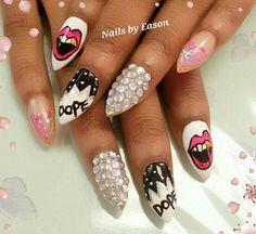 Stiletto nail art/design gold tooth smile. D O P E