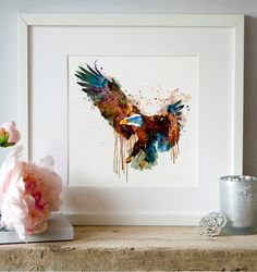 Eagle Watercolor painting Birds of prey Wall art Eagle decor