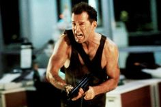 Die Hard film, starring Bruce Willis as John McClane) Bruce Willis, Action Movie Stars, Action Movies, 80s Movies, Good Movies, Awesome Movies, Die Hard 1988, Hard Movie, Yippee Ki Yay