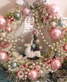 Vtg Xmas Bottle Brush Wreath Pink Shiny Brite Ornaments Reindeer Tree Diorama | eBay