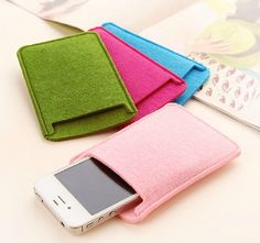 Stylish Mobile Phone iPhone MP4 MP3 Holder Cover Eco Bag Case Card Purse Felt