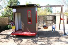 playhouse  < this is what I'm thinking, playhouse with swing set and slide coming off of it