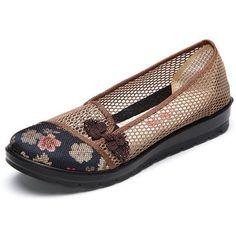 Flor estampada con nudos chinos retros de malla transpirables slip on planos zapatos