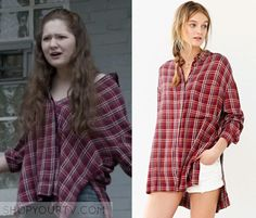 Debbie Gallagher (Emma Kenney) wears this red plaid slit side shirt in this episode of Shameless. It is the BDG Logan Button-Down [...]