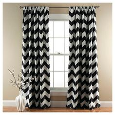 Chevron Blackout Curtain Panels Set of 2 - BLACK