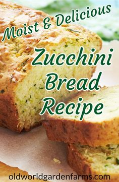 Moist and delicious zucchini bread made with grated zucchini and flavored with hints of cinnamon and ginger. Grandma's Zucchini Bread - The BEST, moist and delicious Zucchini Bread recipe. One of the most requested recipes! Zucchini Bread Muffins, Easy Zucchini Bread, Healthy Bread Recipes, Zucchini Bread Recipes, Banana Bread Recipes, Baking Recipes, Dessert Recipes, Zucchini Bread With Pineapple, Desserts