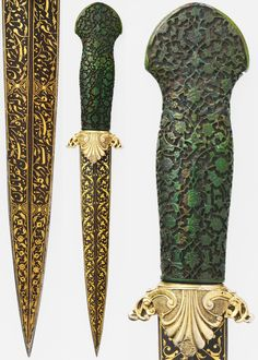 """Ottoman dagger, 16th c (grip and blade), guard 1774–89, steel, ivory, gold; silver-gilt,  L. 12 1/4 in. (31.12 cm); blade L. 7 1/2 in. (19.1 cm), Met Museum, Bequest of George C. Stone, 1935. The ivory grip is carved in the manner of objects made for the Ottoman court, blade inscribed in Turkish and Persian (Ottoman court languages) """"I besought a drink of water from your trenchant dagger, what if but once you should let me drink, what would you lose? If I thirst, his dagger is not laid…"""