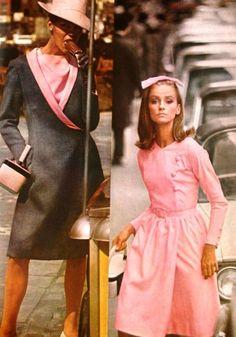 Vogue Pattern Book Autumn 1965 60s pink dress jacket coat suit day wear sheath color photo print ad models fashion magazine