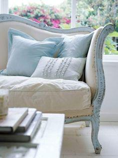 blue + cream antique sofa