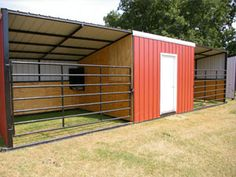 horse shelter - simple storage room on the side and gate to contain horse if required.