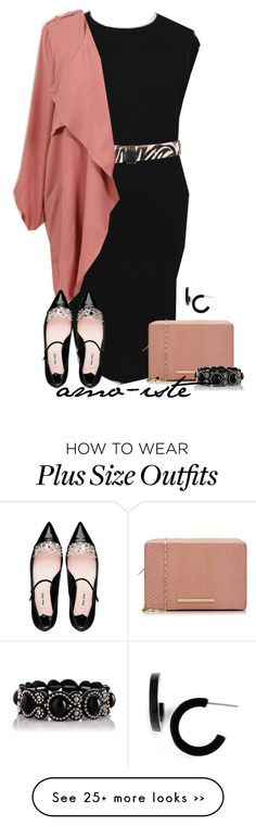 """""""@coolgalblue - plus size"""" by amo-iste on Polyvore featuring s.pa accessoires, Kane, Roland Mouret, Miu Miu and L. Erickson"""