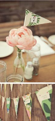 Pennant table numbers and pennant seating chart.  Cute idea for a rustic/country themed wedding.