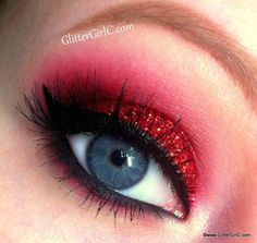 Red, Glittery Christmas Look - Makeup Tutorial. Youtube channel: http://full.sc/SK3bIA