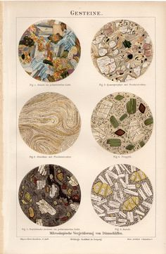 1894 Antique ''Gesteine'', Rocks, Geology, Scientific Microscopic Study of the Rocks and Minerals, Granite, German Lithograph $29.54