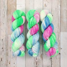 business business business - unikitty inspired | yui fingering|  hand dyed yarn | pink blue green | 100% SW Merino Sock by plankandstella on Etsy https://www.etsy.com/listing/525842955/business-business-business-unikitty