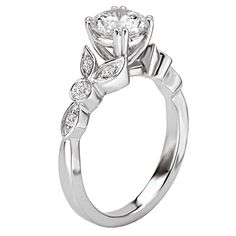 Romance Floral Design Round Diamond Ring in 18kt White Gold with Peg Head. 117311-S Romance
