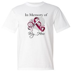 Beautiful In Memory of My Hero design on Head Neck Cancer tribute shirts, apparel and gifts  #HeadNeckCancerRemembrance #HeadNeckCancerAwareness #HeadNeckCancerShirts