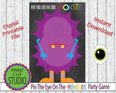Pin The Eye On The Monster Party Game  INSTANT DOWNLOAD