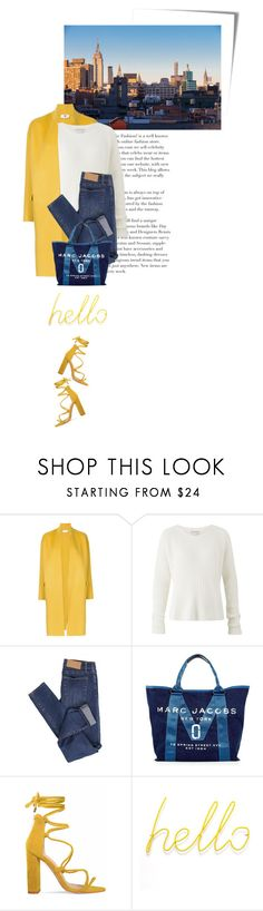 """hello yellow"" by beingaries ❤ liked on Polyvore featuring Post-It, Astraet, Amanda Wakeley, Cheap Monday and Marc Jacobs"