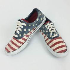 f24f8623dec Details about Tommy Hilfiger Ladies Tennis Shoes Flag Red White Blue Canvas  Size 8 US 41 EU