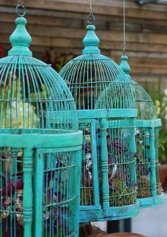 Upcycled garden.... Paint an old bird cage a bright color and use it as a garden planter (Dishfunctional Designs)