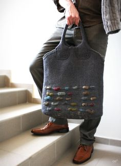 SALE 30% S-UNIVERSAL / Unisex grey felted messenger от Onstail