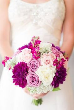 Sangria Tones. Bridal Bouquet with purples, pinks, blush flowers by oldrose
