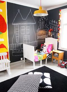 Black and white toddler room with a pop of color. #black #white #toddler #room