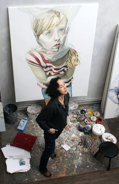 Studio of French artist Domitille Ortes. 'Ortes evokes, through painting and photography, physical and mental transformation of a young pre-teen model, a being in the making, pushing the boundaries of artistic representation of the child.'