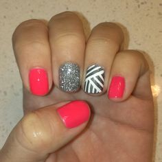 Neon pink gelish, silver glitter and white lines