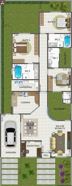 Casa 3 Quartos - 155.62m²: Vivienda de una planta 3 habitaciones buena distribucion #casascolonialesinteriores #plantasdeinterior