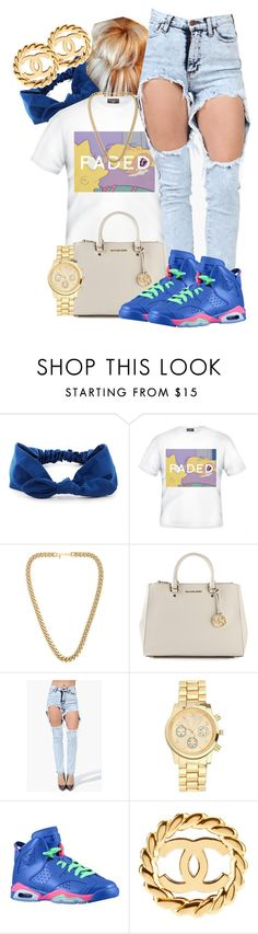 """Faded"" by dajvuuloaf ❤ liked on Polyvore featuring Kenneth Jay Lane, MICHAEL Michael Kors, Topshop, Retrò and Chanel"