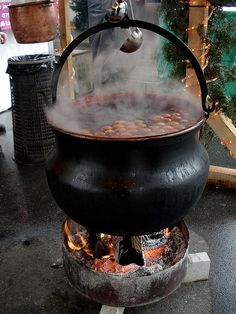 A cauldron of vin chaud (mulled wine) bubbling away outside the Christmas market in Neuchatel, Switzerland.