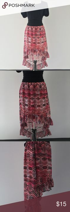 "Red & Black Tribal Patterned Hi-Low Skirt Tags say ""L"" but fits more like a medium. W=13"" laying flat but is elastic and will stretch to 18""...L in front=19"". L in back = 34"". Knitworks Skirts High Low"