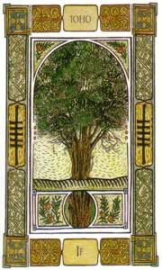 """""""Yew"""" Ogham: keywords:Iodhadh,Rebirth and longevity; a warning that You are dissipating your strength on past experiences. You could be susceptible to some setbacks linked to a past action; you are in need of reflecting on the deeper meaning of this retribution."""