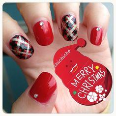 Red Plaid Nails for Christmas! | chichicho~ nail art addicts