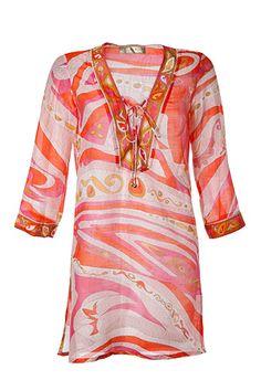 8745d635789fb Orange Pink-Multi Cotton-Silk Kaftan by EMILIO PUCCI
