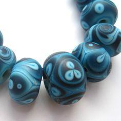 Turquoise Batik Etched Rounds Handmade by CaseysFIneArtGlass