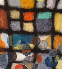 Jenne Giles. Felt Painting. Grids. Grid 2. Felted wool, mixed media. 32.5 x 29""
