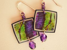 Recycled paper earrings by paperjewelry on Etsy
