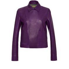 Purple Leather Jacket | Moda Operandi ($2,780) ❤ liked on Polyvore featuring outerwear, jackets, leather jackets, real leather jackets, genuine leather jackets, purple jacket and purple leather jacket