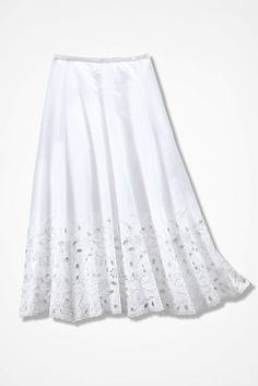 Coldwater Creek Cotton Eyelet Lace Trim Gored Skirt