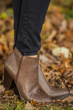 Chocolate booties, fall staple piece! Complete your outfit with the perfect pair of booties! City chic, street style! Perfect for work or play!