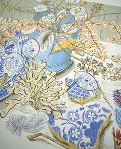 Angie Lewin 'Honesty Blue' (detail) - a screenprint for V&A London http://www.angielewin.co.uk/products/honesty-blue
