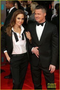 Brad Pitt & Angelina Jolie - BAFTAs 2014 Red Carpet | 2014 BAFTAs, Angelina Jolie, Brad Pitt Photos | Just Jared