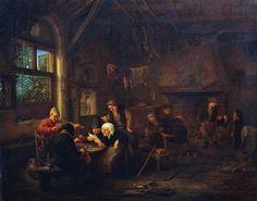 Adriaen van Ostade - Avond in een taverne met een vioolspeler