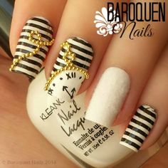 black and white stripe gingham nails