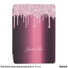 Shop Pink glitter drips deep purple girly iPad air cover created by Thunes. Purple Sparkle, Pink Glitter, Deep Purple, Ipad Air, Apple Ipad, Hand Lettering, Girly, Cover, Phones