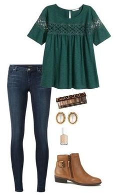 """Untitled"" by lizzie-mg on Polyvore featuring J Brand, H&M, Lauren Ralph Lauren, Urban Decay, Christian Dior and Essie by inez"